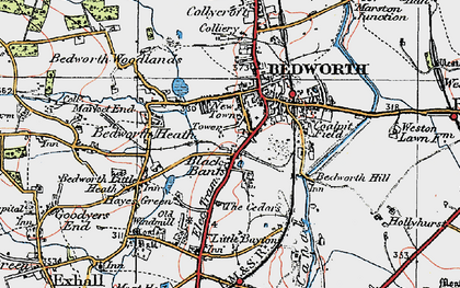 Old map of Black Bank in 1920