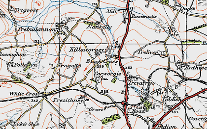 Old map of Black Cross in 1919