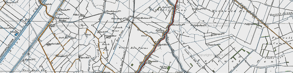Old map of Willow Row Drain in 1920