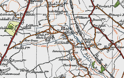 Old map of Black Notley in 1921