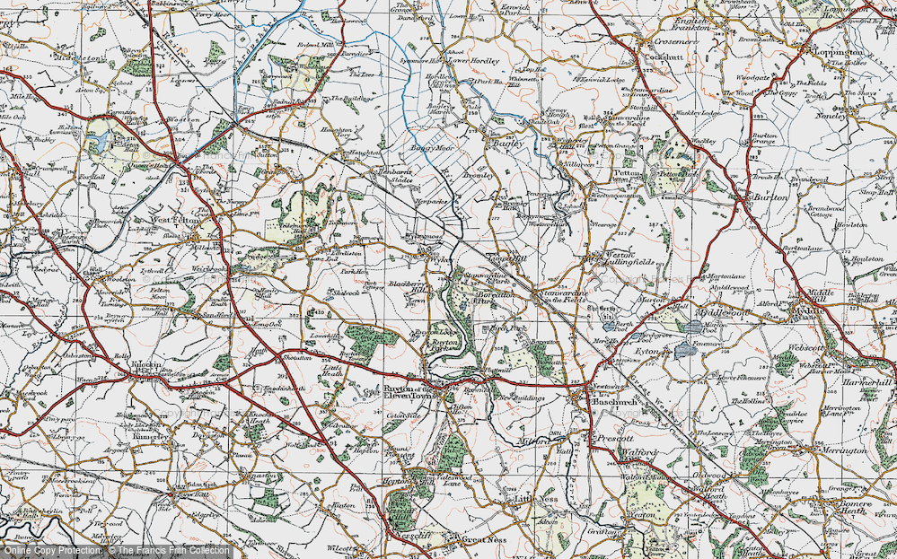 Old Map of Historic Map covering Limpit Hill in 1921