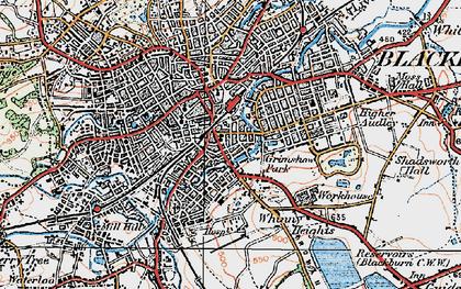 Old map of Blackburn in 1924