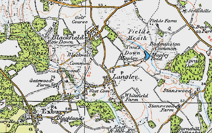Old map of Badminston Common in 1919