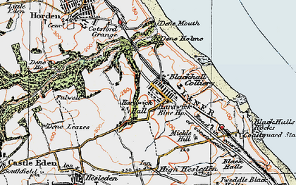 Old map of Blackhall Colliery in 1925