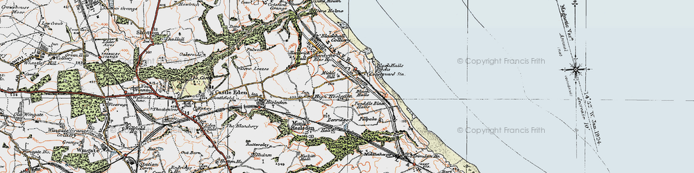 Old map of Blackhall Rocks in 1925