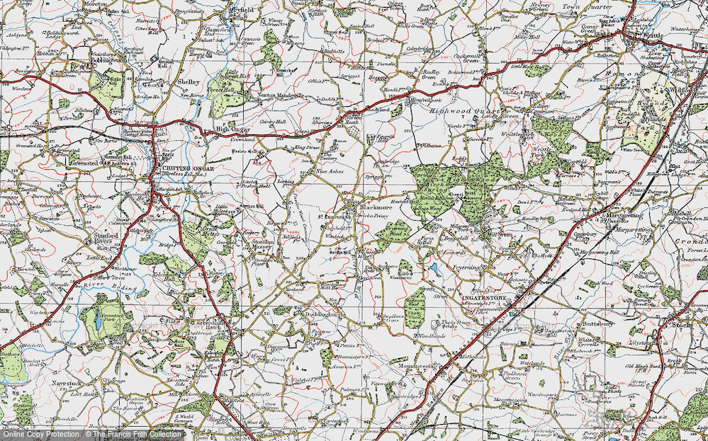 Old Map of Blackmore, 1920 in 1920