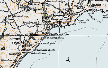 Old map of Asherne in 1919