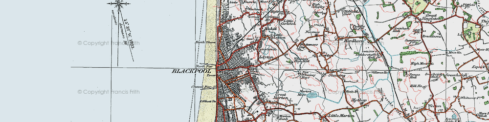 Old map of Blackpool in 1924
