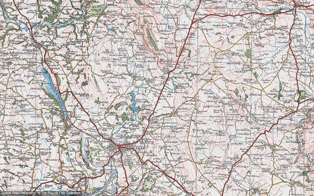 Old Map of Historic Map covering Tittesworth Reservoir in 1923