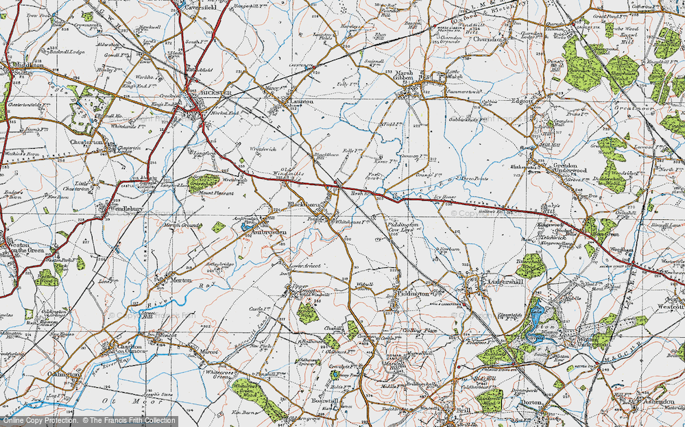 Old Map of Blackthorn, 1919 in 1919