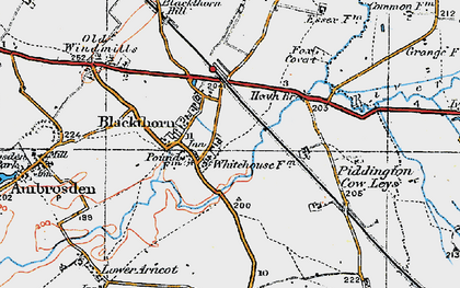 Old map of Blackthorn in 1919