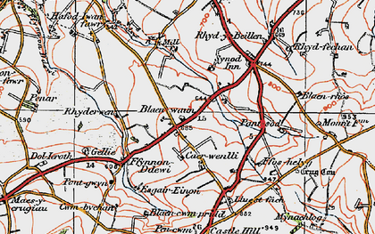 Old map of Afon Soden in 1923