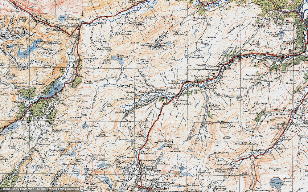 Old Map of Historic Map covering Afon Diwaunedd in 1922
