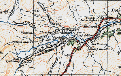 Old map of Afon Diwaunedd in 1922