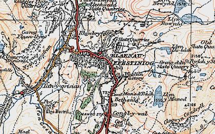 Old map of Blaenau Ffestiniog in 1922