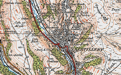Old map of Blaenau-Gwent in 1919