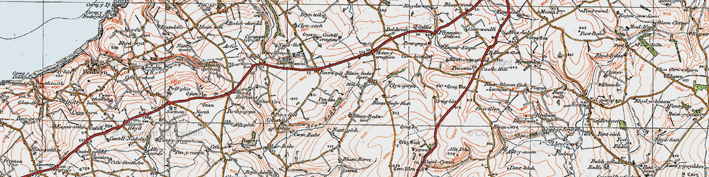 Old map of Afon Bedw in 1923
