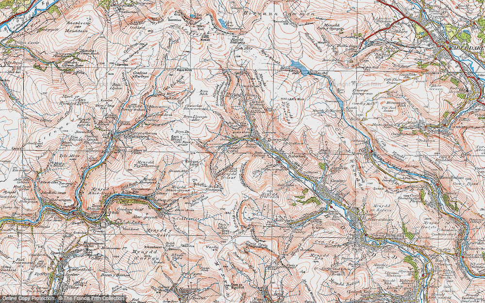 Old Map of Historic Map covering Bachgen Careg in 1923