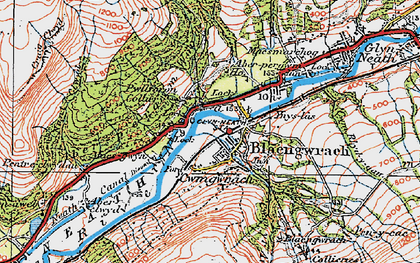 Old map of Aber-pergwm Wood in 1923