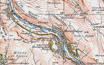 Old map of Blaenllechau in 1923