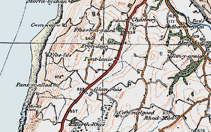 Old map of Blaenplwyf in 1922