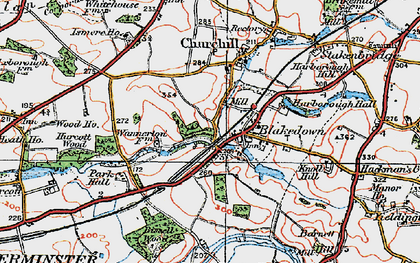 Old map of Blakedown in 1921