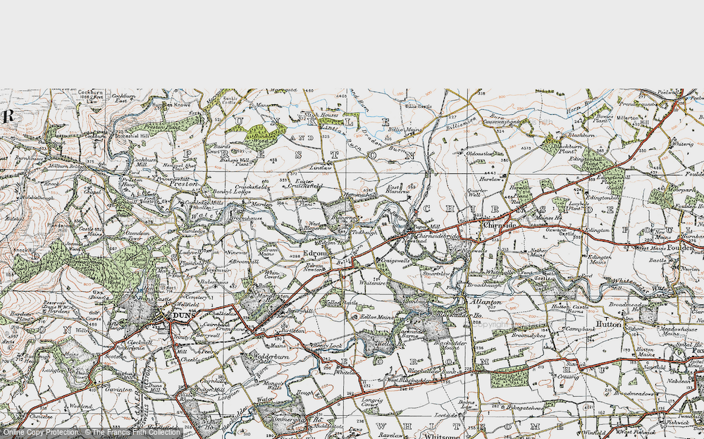 Old Map of Historic Map covering Lintlaw in 1926