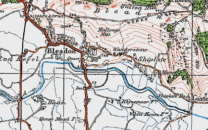 Old map of Bleadon in 1919