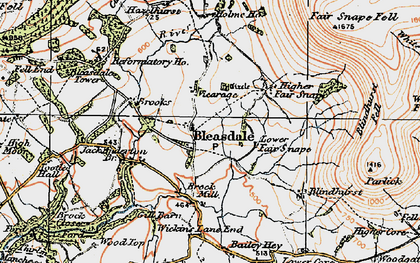 Old map of Bleasdale in 1924