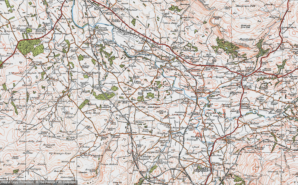Old Map of Historic Map covering Grassgill Rigg in 1925