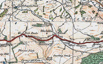 Old map of Bleddfa in 1920