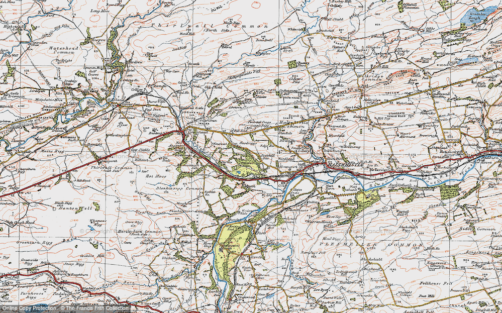 Old Map of Historic Map covering Woodhead in 1925