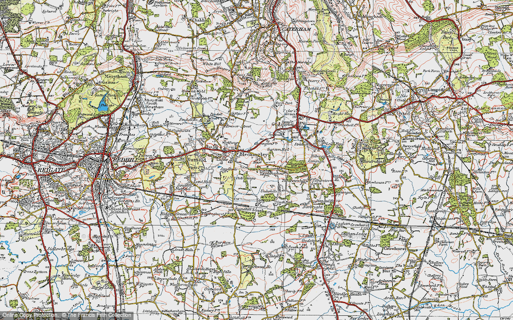 Old Map of Historic Map covering Wychcroft Ho in 1920
