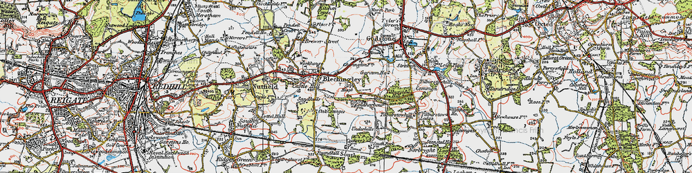 Old map of Tilburstow Hill in 1920