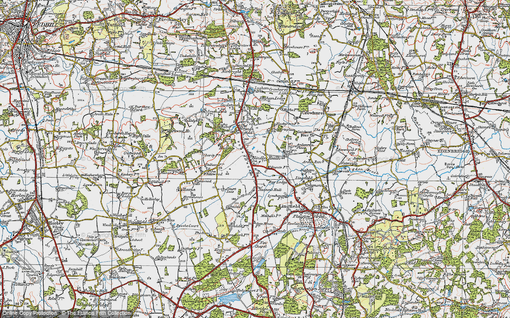 Old Map of Blindley Heath, 1920 in 1920