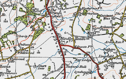 Old map of Blindley Heath in 1920