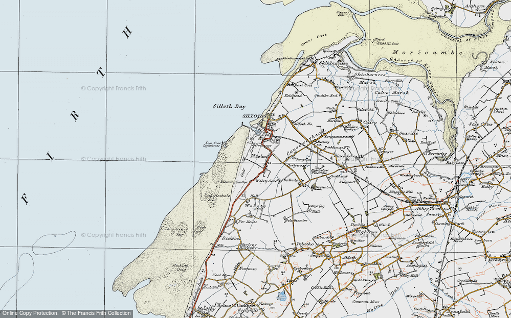 Old Map of Historic Map covering Lees Scar in 1925