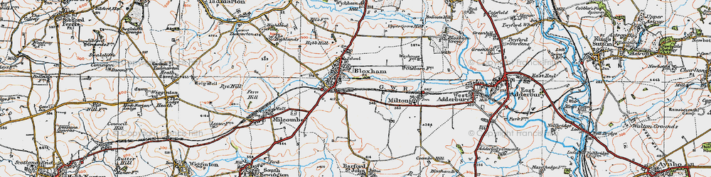 Old map of Bloxham in 1919