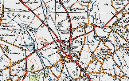 Old map of Bloxwich in 1921