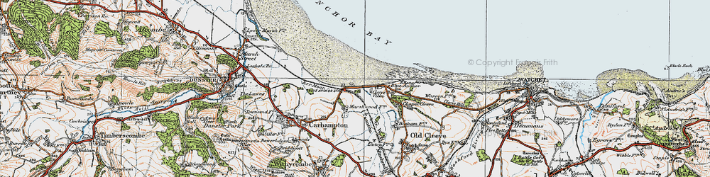 Old map of Blue Anchor in 1919
