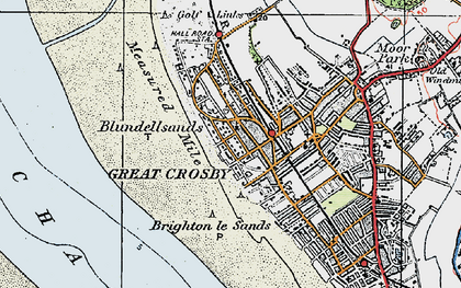 Old map of Blundellsands in 1923