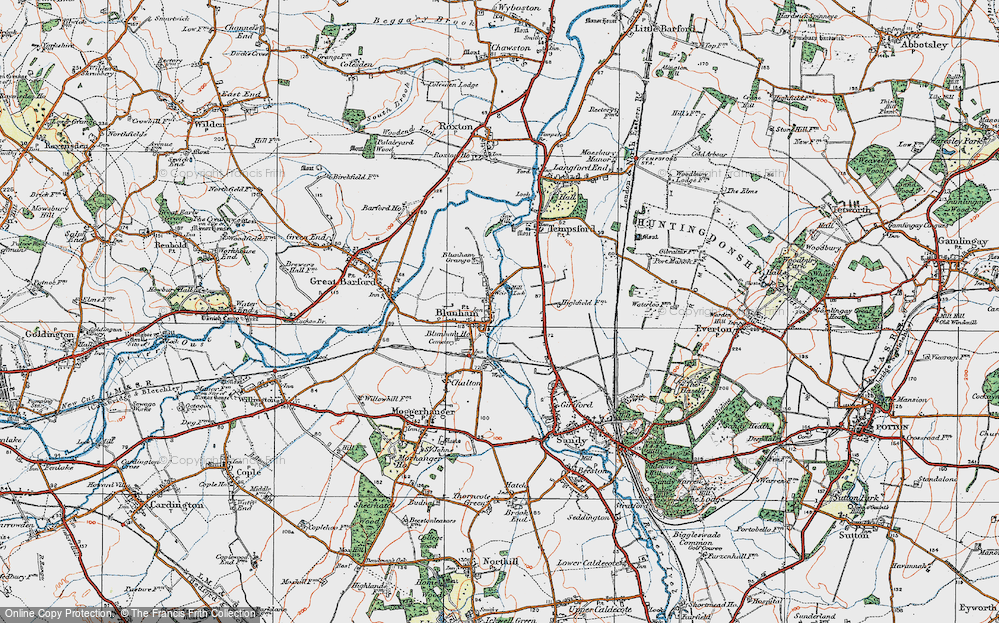 Old Map of Blunham, 1919 in 1919