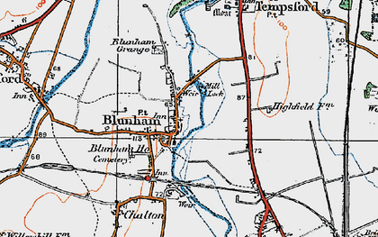 Old map of Blunham in 1919