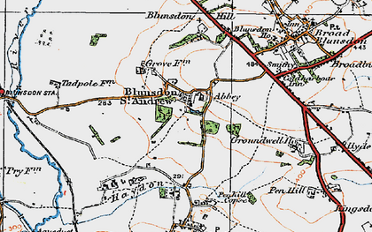 Old map of Blunsdon St Andrew in 1919