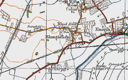 Old map of Bluntisham in 1920
