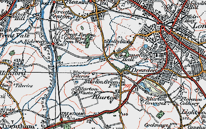 Old map of Blurton in 1921
