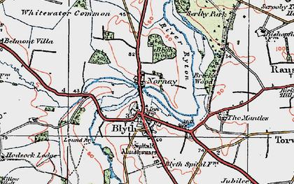 Old map of Blyth in 1923