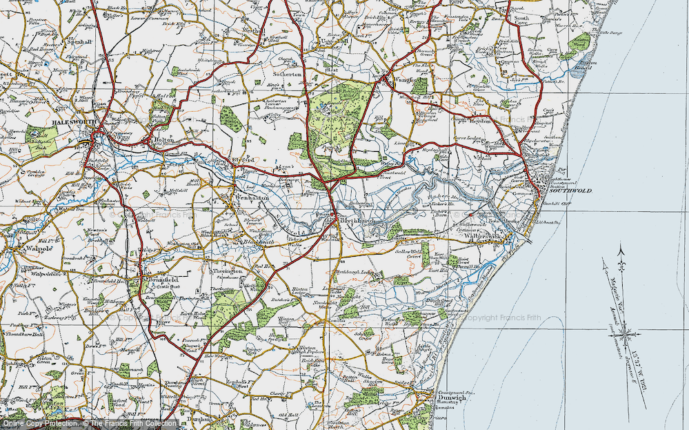 Old Map of Historic Map covering Toby's Walks in 1921