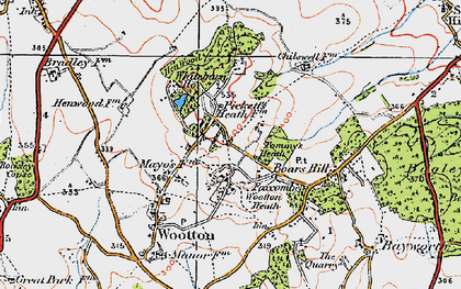 Old map of Youlbury Wood in 1919