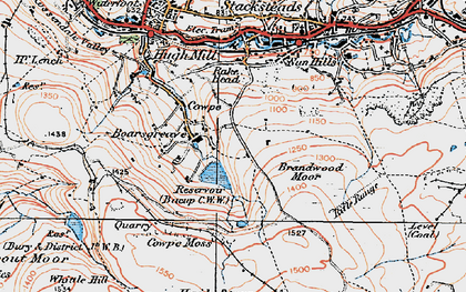 Old map of Boarsgreave in 1924